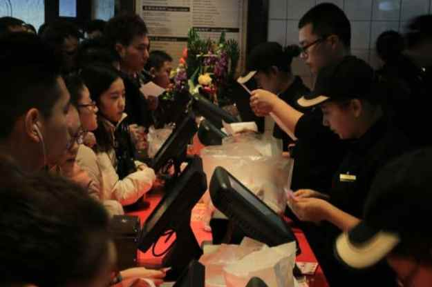 Patrons ordering at Burger King in Xinjiang, China