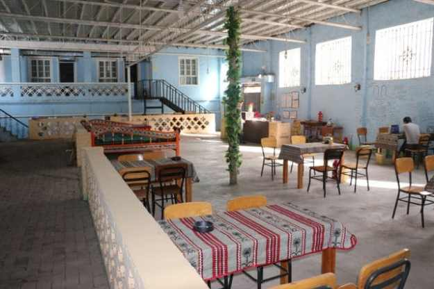 Another view of the common area at the Turpan White Camel Youth Hostel in Xinjiang