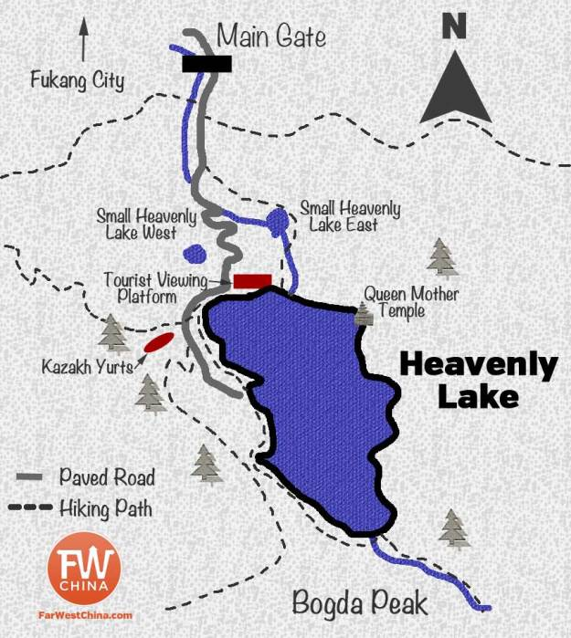 An English map of Xinjiang's Heavenly Lake (天池)