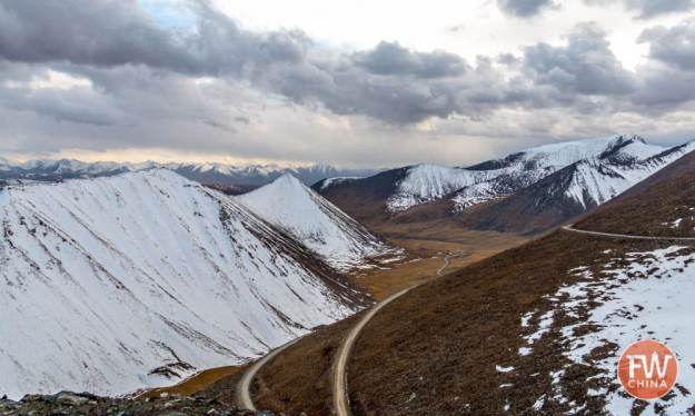 The view from the TianShan mountain pass on highway 216