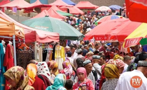 Outside the colorful Kashgar Sunday Market