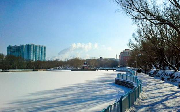 Xinjiang University Campus in winter