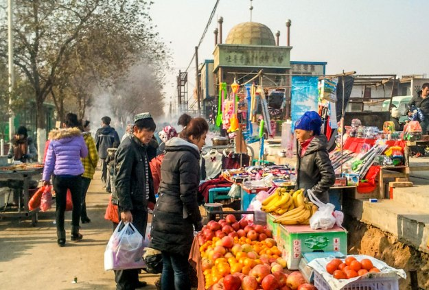 A small bazaar in Xinjiang, China
