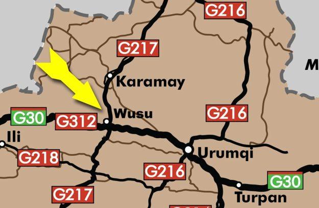 A map of Wusu in Xinjiang, China