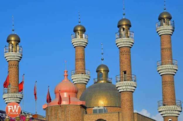 The minarets of the Urumqi International Grand Bazaar mosque