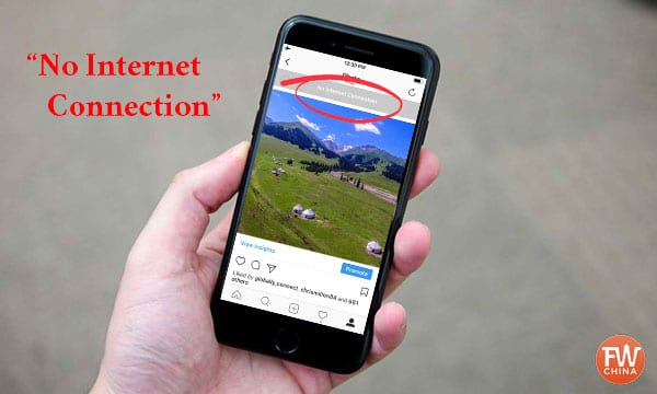 """""""No Internet Connection"""" notice when accessing Instagram in China"""