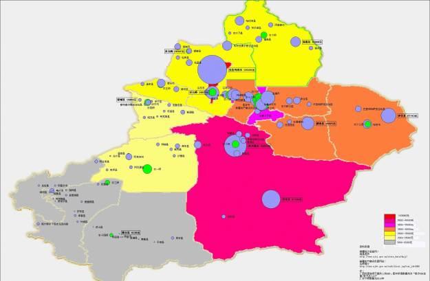 Xinjiang GDP Density Map - Xinjiang, China