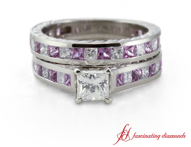 Princess Cut Diamond Wedding Ring Set With Pink Sapphire In 14k White Gold Fascinating