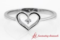 Open Heart Round Diamond Promise Ring In White Gold