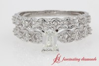 Emerald Cut Filigree Diamond Wedding Ring Set In 14k White