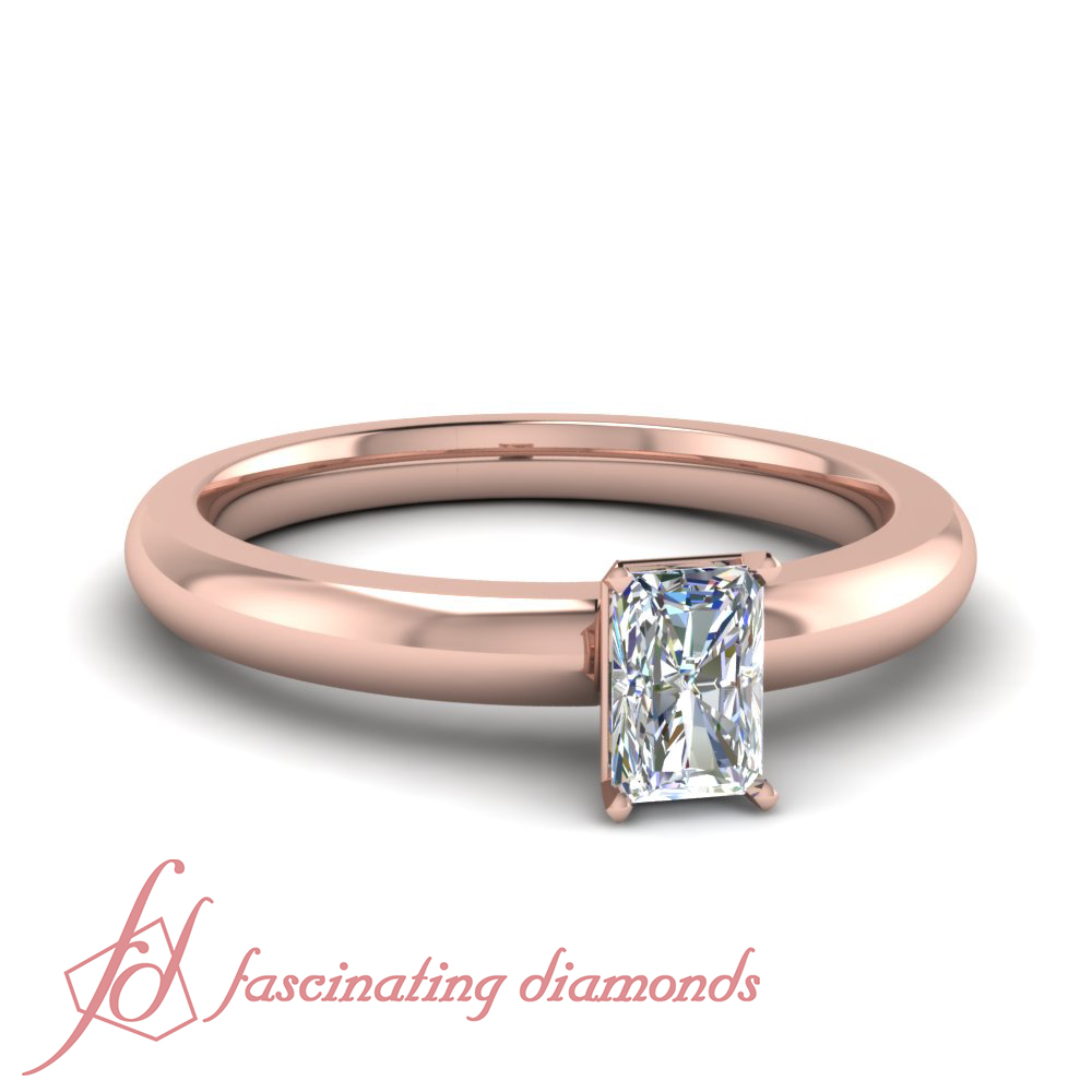 Rose Gold Radiant Cut Diamond Promise Rings For Women 1/2