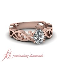 18K Rose Gold Oval Shape Diamond Promise Rings For Women 1
