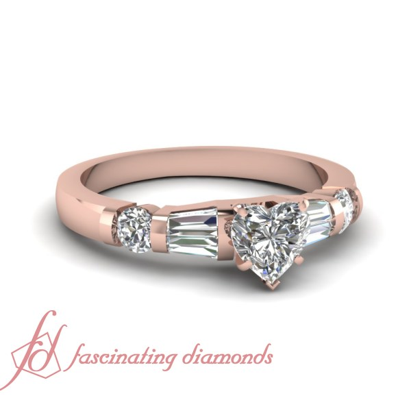 1 Carat Heart Shaped Diamond Engagement Ring With Baguette