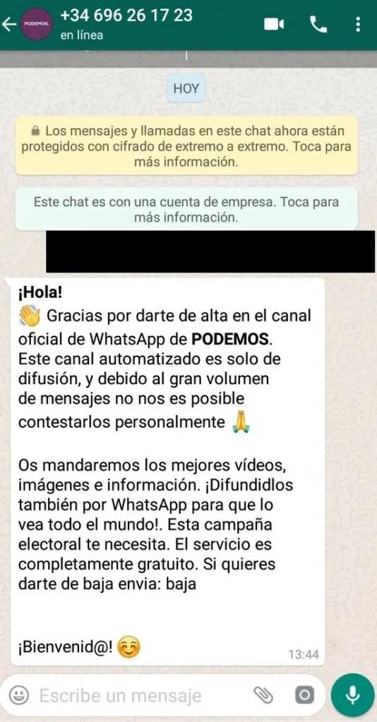 Alta en el sistema de WhatsApp de Podemos