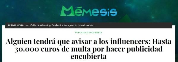 Artículo de Mémesis en que hemos participado sobre las multas por hacer publicidad encubierta por parte de influencers
