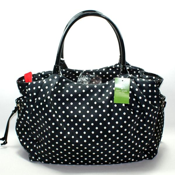Kate Spade Stevie Baby Bag Spot Nylon Black Diaper #wkru1613 Wkru1613