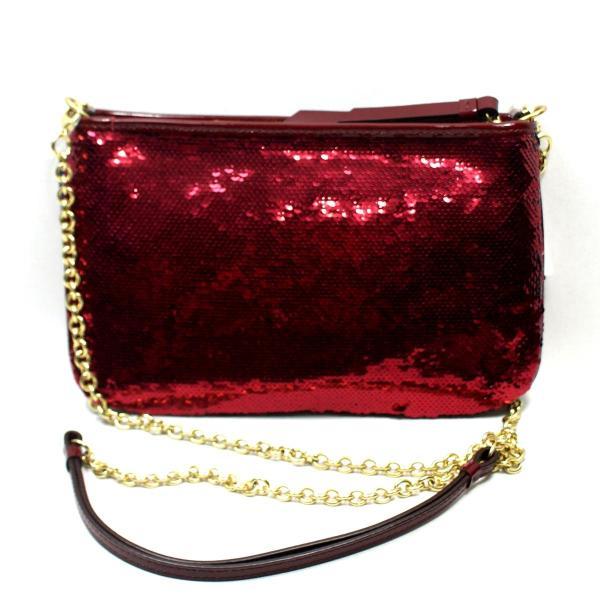Coach Poppy Sequin Crimson Cross Body Bag #48422 48422
