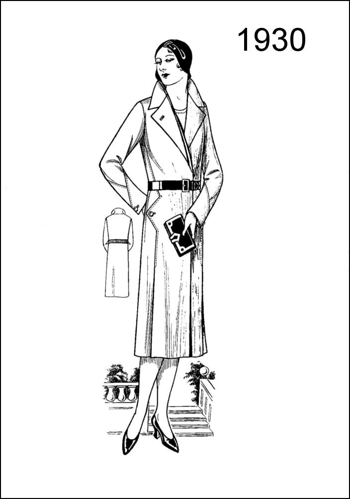 1930s Coats from Women's Wear Fashion Pattern Draft Chart