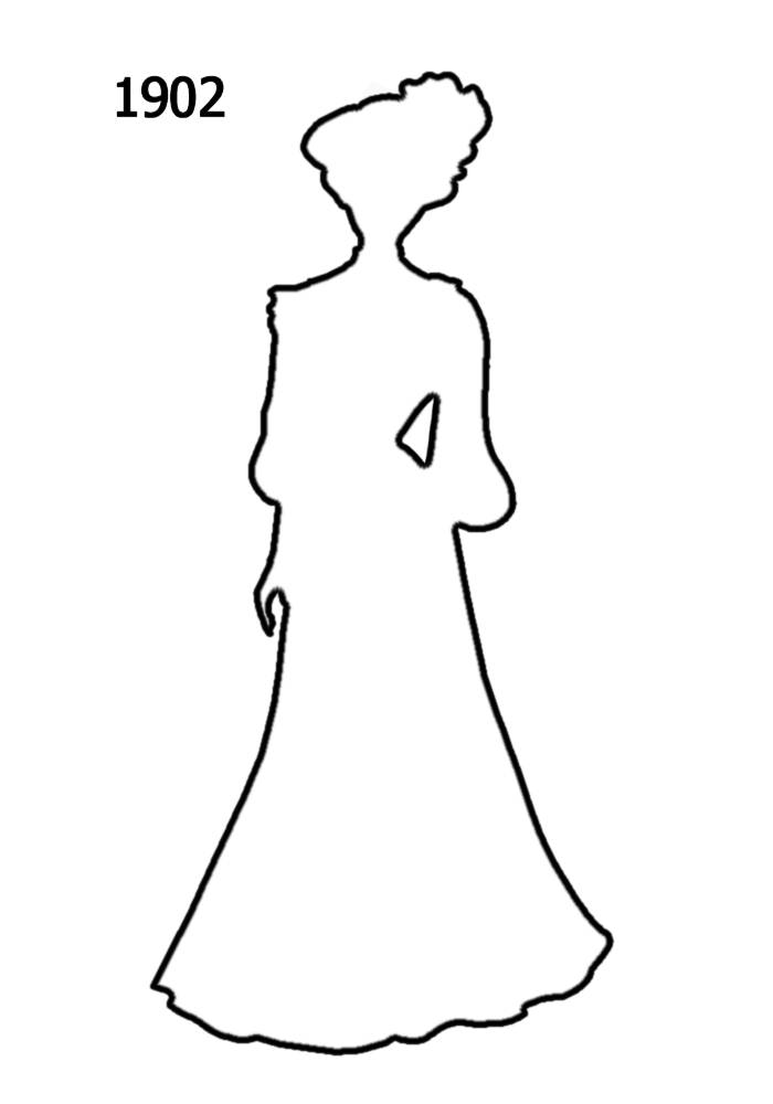 Free Outline White Silhouettes 1900-1910 in Costume