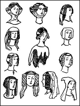 Pictures of Medieval Women's Hairstyles & Headwear 1327