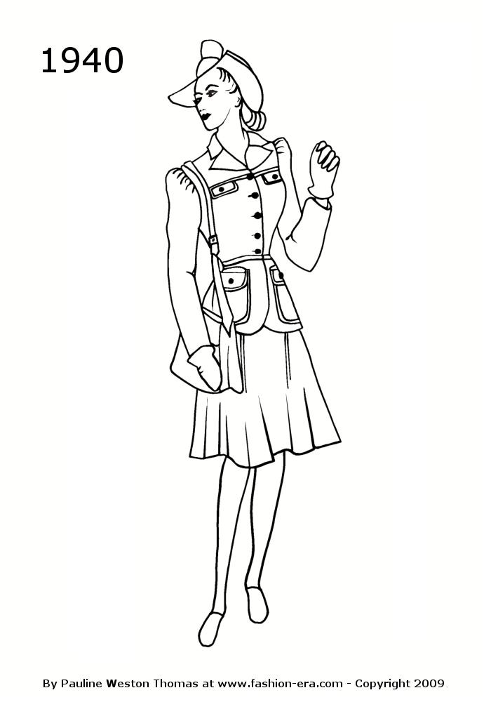Costume History Silhouettes 1940s Free Timeline Drawings