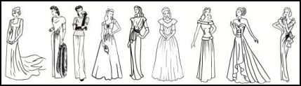 1942-1947. These dress line drawings are specifically of evening dresses throughout the 1940s