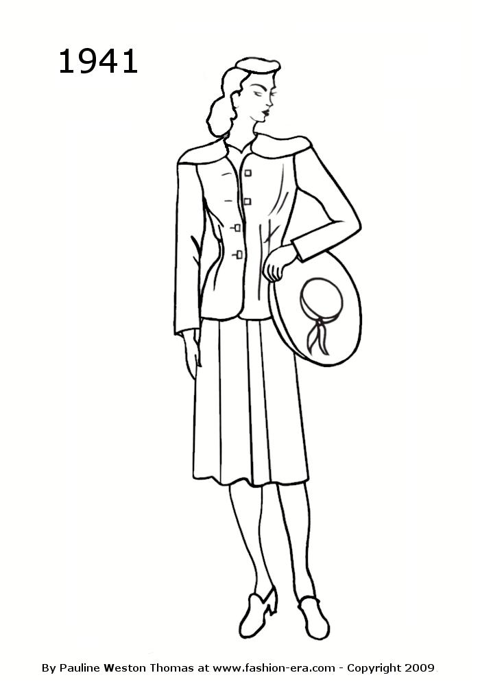 Fashion Silhouettes 1941 Free Women's Line Drawings 1941