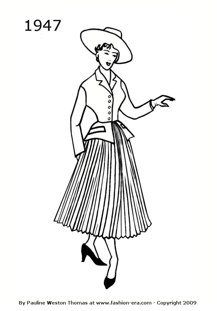 Costume History Suit Silhouettes 1940s Free Line Drawings