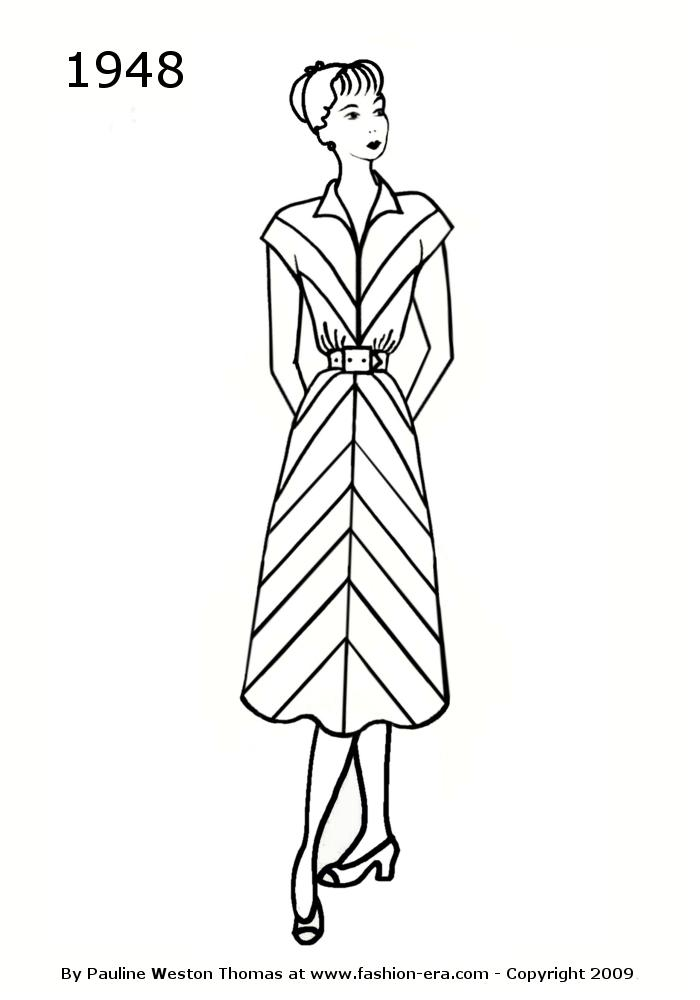 Costume History Silhouettes 1948 Late 1940s Drawings