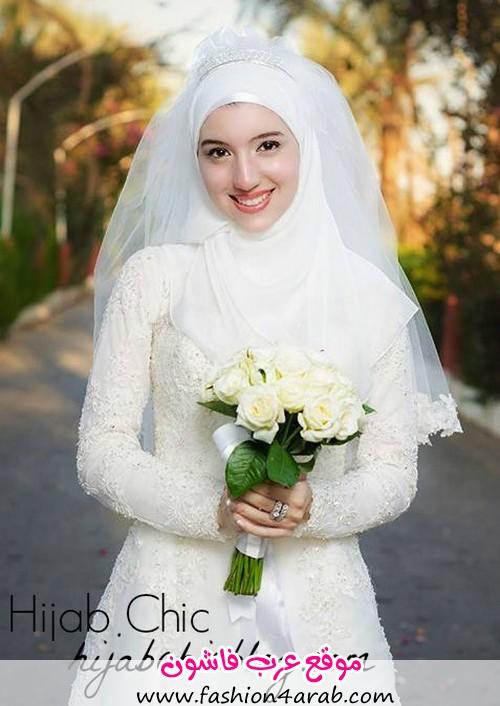 10 اجمل فساتين زفاف محجبات عرب فاشون