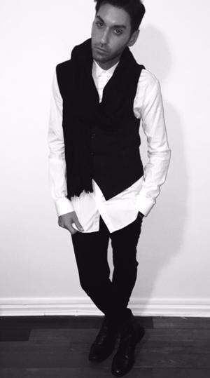 Styled By: Laurean Ossorio - Shirt: Dolce & Gabbana - Vest: Costume National - Pants: Helmut Lang - Scarf: Gucci - Shoes: Rag & Bone - Hair: Shu Uemura