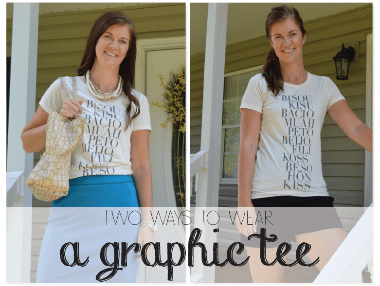 ef64d071 Two ways to wear a graphic tee - Fashion + Feathers