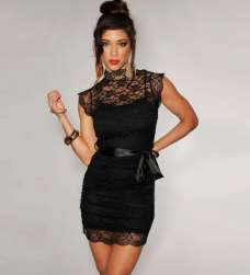 2015 Short Dress Models - Black
