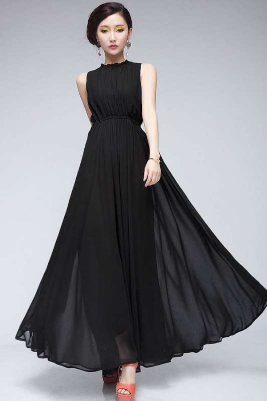 Black Chiffon Dress 2015