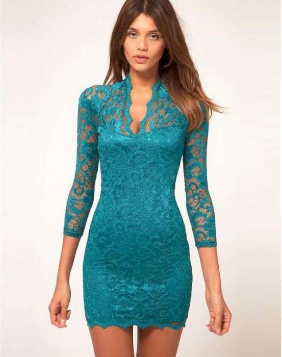Lace Dresses - Blue