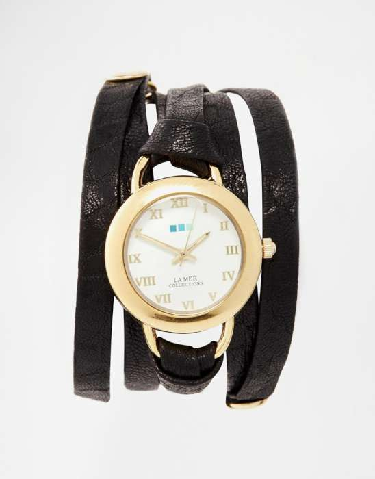 La Mer Saturn Black Wrap Watch