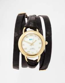La Mer Saturn Black Wrap Watch