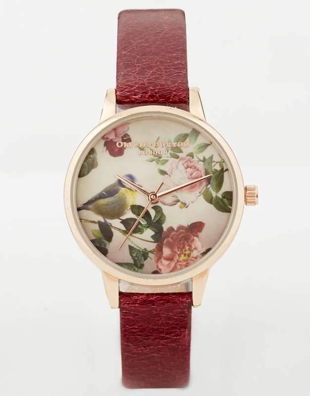 Olivia Burton Woodland Bird In Roses Watch