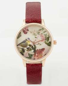 Olivia Burton Woodland Bird In Roses Watch