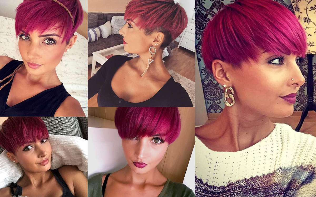 Short Haircuts With Pink Color 2016