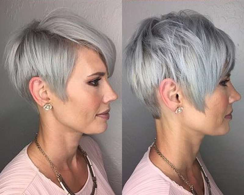 Short Hairstyle Grey Hair - 1