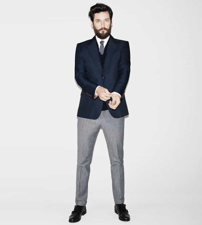 Men's Go-To Outfit Combinations - Navy Blazer With Grey Trousers