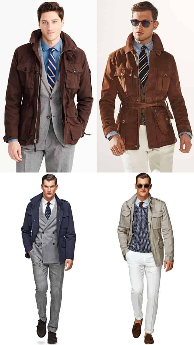 Men's Field/Safari Jackets Worn With Tailoring and Suits - Fashion Outfit Inspiration Lookbook