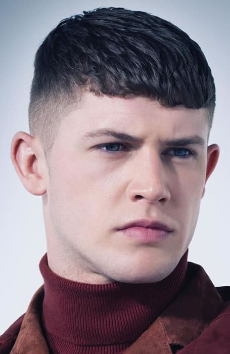 Men's Fade With Blunt Fringe Hairstyle