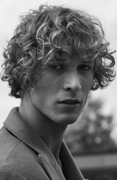 Men's Curly Long Hair With Fringe Hairstyle
