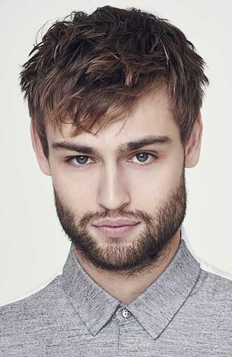 Men's Textured Angular Fringe Hairstyle