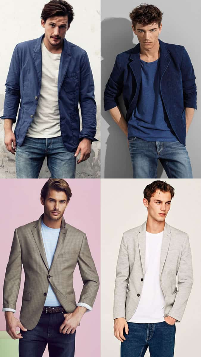 Men's Blazers, T-Shirt and Jeans Outfit Inspiration Lookbook