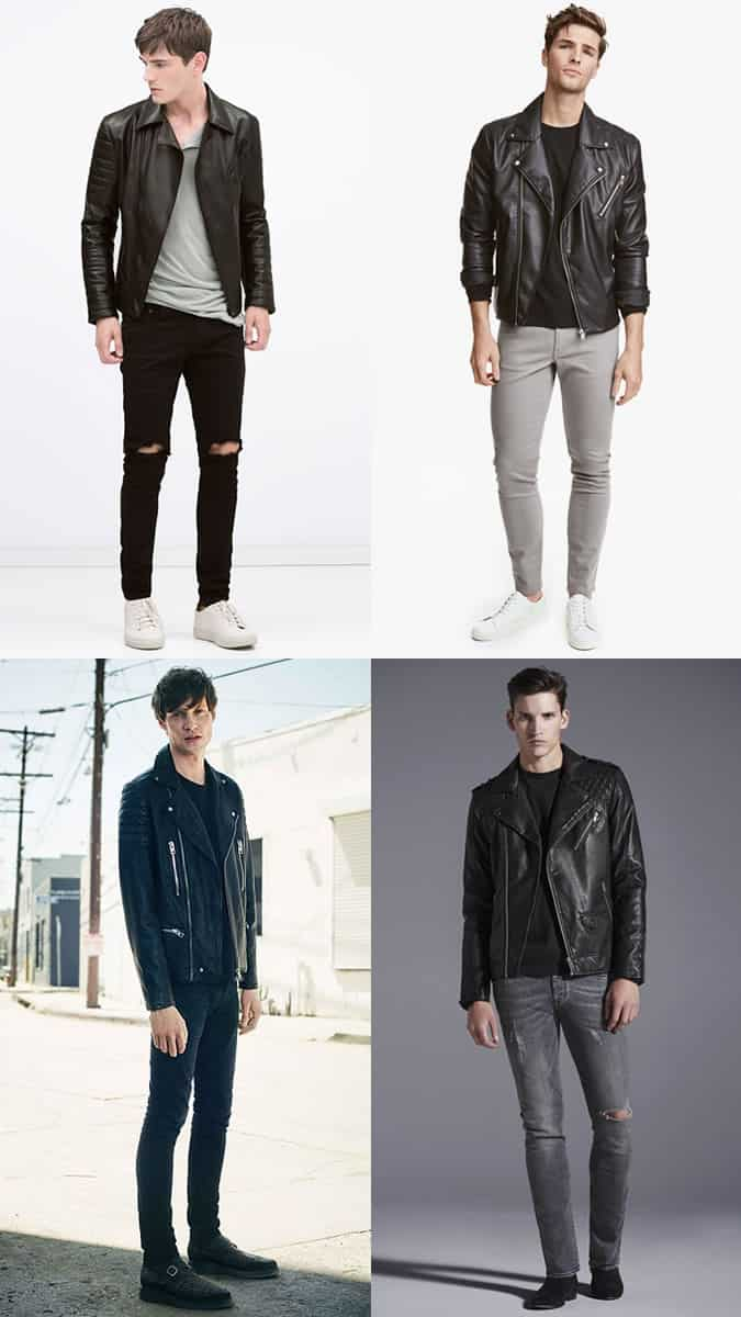 Men's Leather Jacket, T-Shirt and Jeans Outfit Inspiration Lookbook