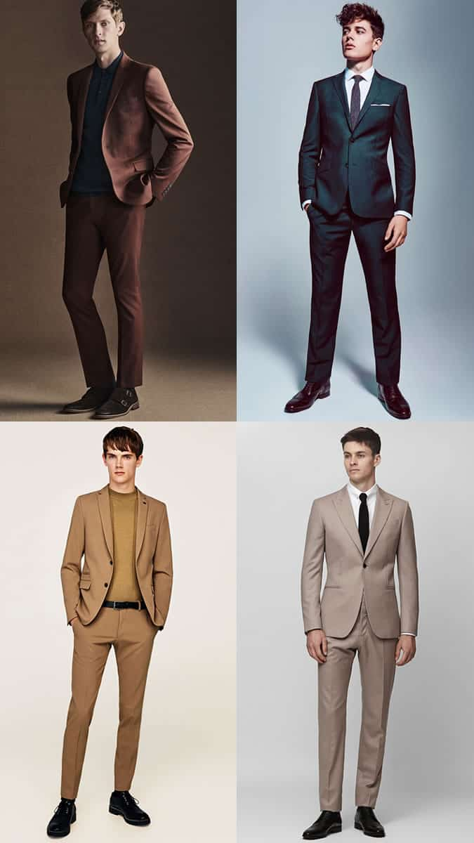how to wear green, burgundy and camel suits
