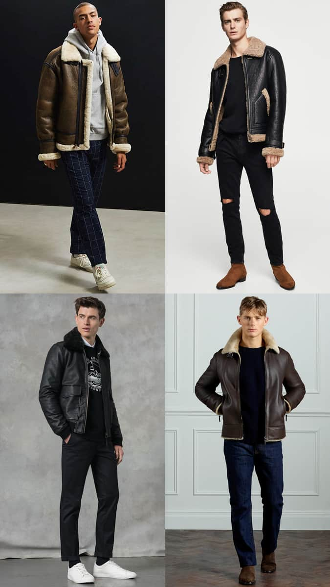 Men's Shearling Flight Jacket Outfit Inspiration Lookbook For Autumn/Winter 2017